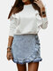 Casual Solid Color Ruffle Long Sleeve Plus Size Sweatshirt for Women - White