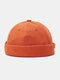 Unisex Letter Patch Pattern Solid Color Brimless Beanie Landlord Cap Skull Cap - Orange Red