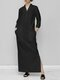 Solid Color Splited Long Sleeve Casual Maxi Dress For Women - Black