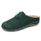 LOSTISY Comfy Suede Breathable Hollow Lace Up Front Backless Flats for Women - Green