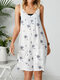 Dandelions Flower Print Adjustable Knotted Strap Sleeveless Romper With Pocket - White