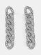 Alloy Vintage Hip Hop Long Micro-Inlaid Cuban Chain Earrings - Silver