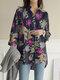 Vintage Blumendruck Langarm Lässige Lose Bluse Mit Taschen - Marine