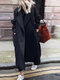 Solid Color Pocket Lapel Collar Long Sleeve Casual Coat for Women - Navy