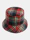Women & Men Plaid Pattern Retro Port Style Windproof Soft All-match Travel Bucket Hat - #05