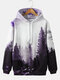 Mens Forest Landscape Printed Casual Drawstring Hoodies With Pouch Pocket - Purple