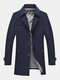 Mens Solid Color Button Up Lapel Collar Plain Casual Overcoats - Navy