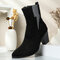 Plus Size Women Casual Solid Color Simple Pointed Toe Zipper Chunky Heel Chelsea Boots - Black 2#