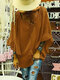 Solid Color Flounces Sleeve Bandage Casual Blouse For Women - Brown