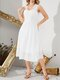 Women Solid Color Backless Bowknot Sleeveless Square Collar Casual Dress - White