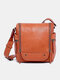 Women PU Leather Old Trend Rock Hill Crossbody Bag - Brown
