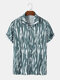 Mens Wave Striped Print Holiday Short Sleeve Shirts With Pocket - Blue