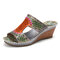 SOCOFY Handmade Leather Contrast Coutouts Stitching Slip on Slides Wedge Sandals - Green