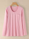 Stripe Print Pocket O-neck Long Sleeve Casual T-shirt - Pink