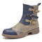 SOCOFY Printed Cloth Splicing Round Toe Embossed Genuine Leather Comfy Zipper Short Boots - Blue