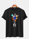 Mens Cotton Astronaut Colorful Planet Print O-Neck Casual Short Sleeve T-Shirts - Black