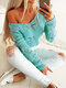 Hollowed Off-Shoulder V-neck See-through Knit Sweater For Women - Green