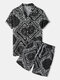 Mens Paisley Pattern Ethnic Style Black Revere Collar Two Piece Outfits - Black