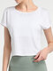 Solid Color Short Sleeve O-neck Sport Crop Top - White