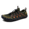 Men Breathable Mesh Fabric Non Slip Elastic Lace Casual Water Shoes - Green