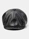 Men Faux Leather Retro Casual Solid Color Forward Hat Octagonal Hat Flat Cap - Black