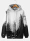 Mens Forest Landscape Printed Casual Drawstring Hoodies With Pouch Pocket - Gray
