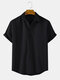 Mens Solid Color Cotton Breathable Casual Short Sleeve Shirts - Black