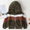 Boy's Color Patchwork Long Sleeves Casual Warm Coat For 2-8Y - Green