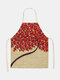 3D Tree Painting Pattern Cleaning Colorful Aprons Home Cooking Kitchen Apron Cook Wear Cotton Linen Adult Bibs - #12