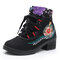 Women Folkways Floral Embroidery Non Slip Soft Sole Chunky Heel Short Boots - Black
