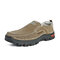 Men Large Size Round Toe Stitching Slip-on Casual Loafers Shoes - Brown