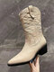 Women Casual Retro Comfy Slip-On Pointed Toe Stitched Cowboy Boots - Beige