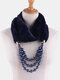 Bohemian Plush Imitation Pearl Necklace Autumn Winter Beaded Pendant Scarf Necklace - #08