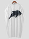 Plus Size Mens Whale Print Button Neck Pullover Casual Poncho Top - White