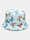 Women & Men Double-Sided Colorful Butterflies Pattern Outdoor Casual Sunshade Bucket Hat - Blue