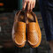 Men Slip-on Stitching Closed Toe Casual Outdoor Hand Made Sandals - Yellow