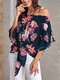 Flower Print Half Sleeve Knotted Loose Blouse for Women - Blue