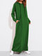 Solid Color Long Sleeves Casual Hooded Maxi Dress - Green