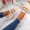 Plus Size Women Rainbow Stripe Knitted Breathable Casual Walking Shoes - Pink