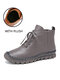 SOCOFY Genuine Leather Stitching Solid Color Soft Wearable Sole Casual Flat Short Boots - Gray (Plush)