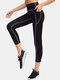 Women Quick Drying High Elastic Skinny Pocket High Waist Sports Cropped Pants With Contrast Binding - Purple