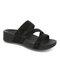 Plus Size Women Rhinestone Opened Toe Hook Loop Platform Casual Slide Sandals - Black