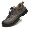Men Outdoor Detailed Stitching Rubber Toe Cap Slip Resistant Soft Hiking Shoes - Gray
