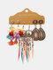 3 Pcs Vintage Irregular Women Earrings Set Drop-Shape Hollow Flower Hand-Woven Tassel Earrings - #04