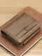 पुरुष रेट्रो पु चमड़े का सिक्का पर्स कार्ड केस शॉर्ट वॉलेट - भूरा