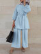 Solid Color Waistband Knotted Long Sleeve Casual Muslim Set for Women - Blue