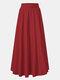 Jupe longue décontractée à taille élastique plissée de couleur unie pour femmes - rouge