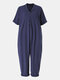 Solid Color Button Lapel Jumpsuit With Pocket - Navy