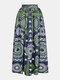 Falda larga con cintura elástica con abertura en el muslo y estampado geométrico étnico - Armada