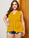 Striped Print Knotted Plus Size Casual Tank Top for Women - Yellow